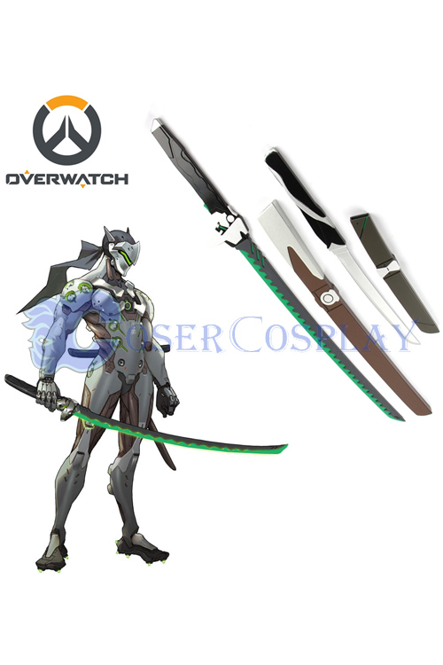 Overwatch OW Gaku Space Genji Wooden Swords Cosplay Weapons